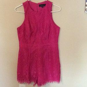 Adeline Rae pink lace romper